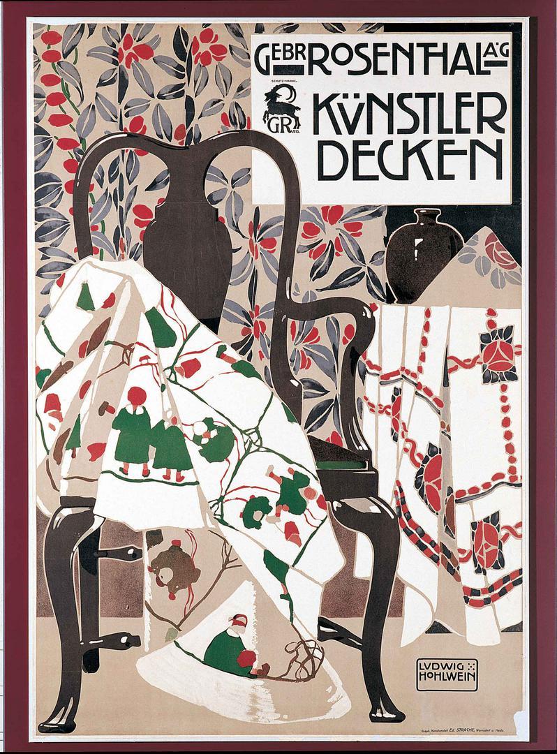 Werbeplakat für Künstlerdecken von Gestaltung: Ludwig Hohlwein, Druck: Graphische Kunstanstalt Ed. Strache;