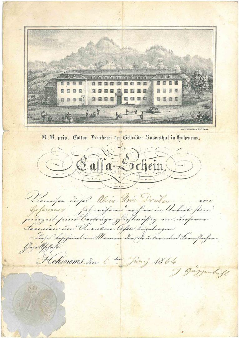 Cassa-Schein der Gebrüder Rosenthal von Schein: Gebrüder Rosenthal, Lithographie: J. Tribelhorn, St. Gallen